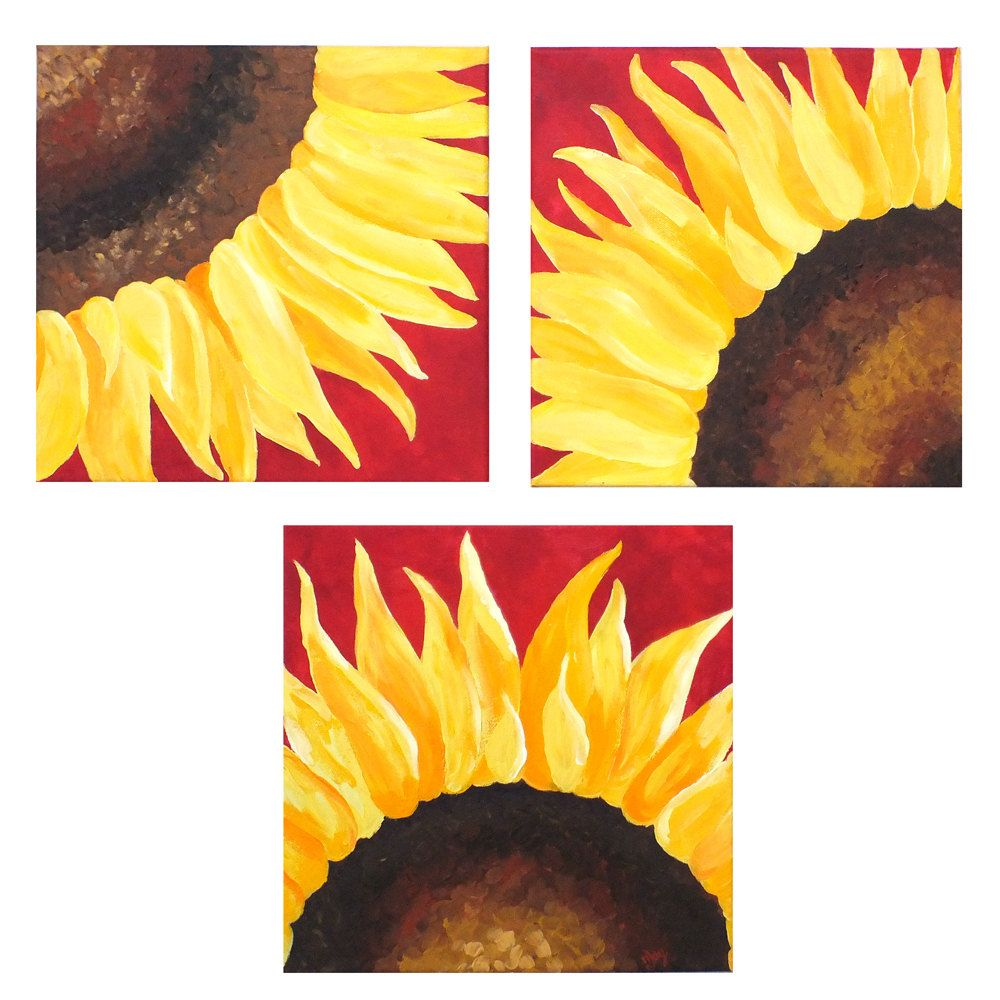 SUNFLOWERS ON RED, Set of 3 12x12 Abstract Paintings, Home and ...
