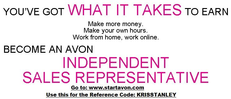 1) To Sell Avon, go to wwwstartavon 2) Enter Reference Code - sales agent contract