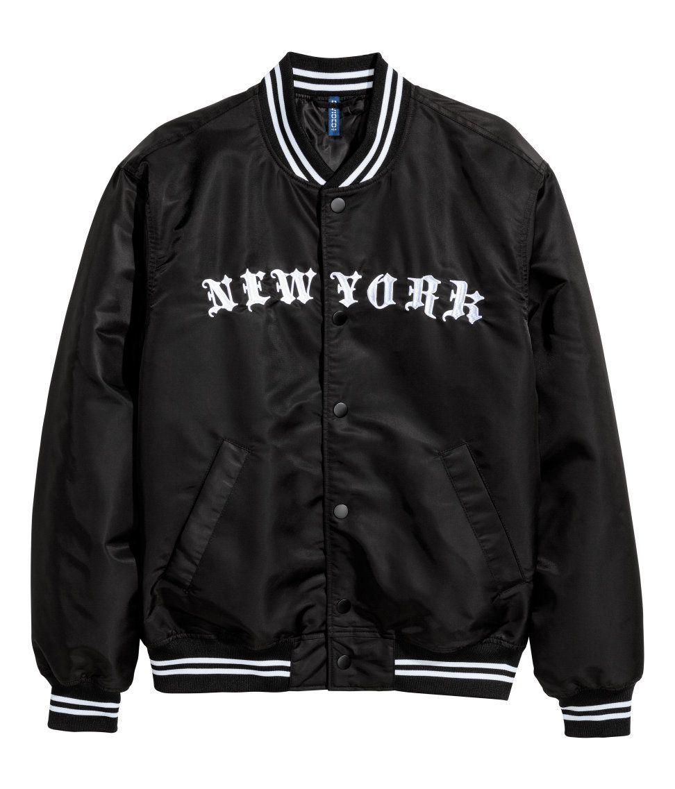 Bird Embroidered Baseball Jacket - BLACK XL