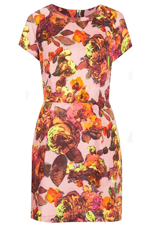 Topshop Floral Printed Shift In Peach Vintage Shift Dress Top Shop Dress Shift Dress [ 1530 x 1020 Pixel ]