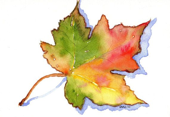 Maple Leaf 5x7 Orignal Watercolor Autumn Fall Season Colorful