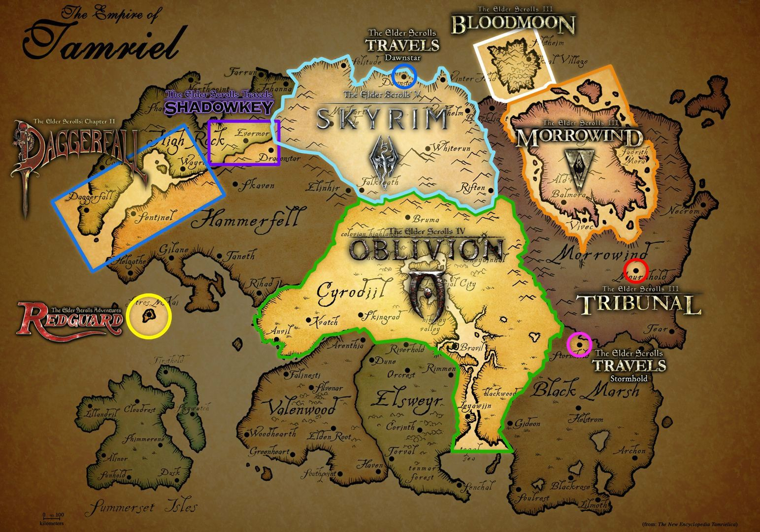 Map of tamriel and the locations of each game | Skyrim | Elder ...
