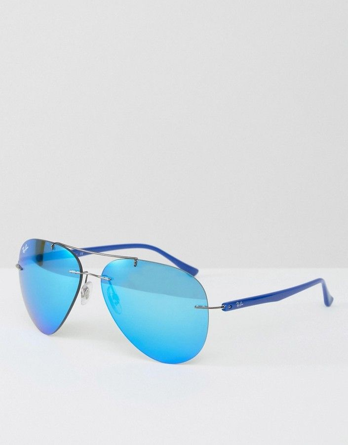 Ray-Ban Rimless Aviator Sunglasses in Blue | Ray-Ban Sunglasses ...