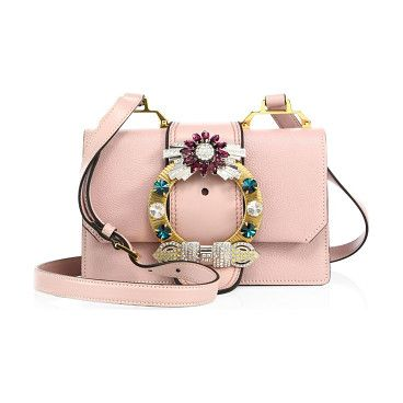 Crystal-embellished madras leather shoulder bag by Miu Miu. Structured leather bag with crystal-embellished buckleAdjustable shoulder strapMagnetic snap-flap closureGoldtone har...