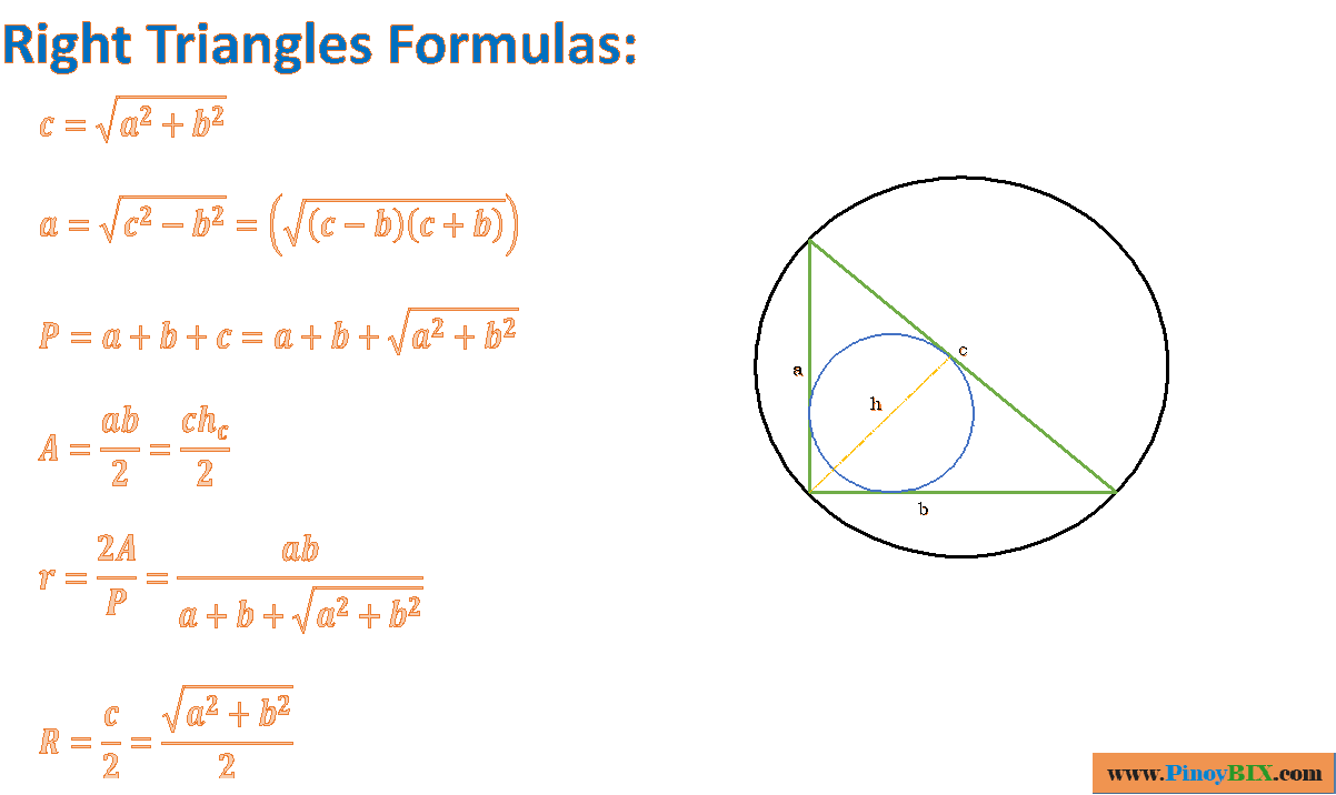 Right Triangle Formulas
