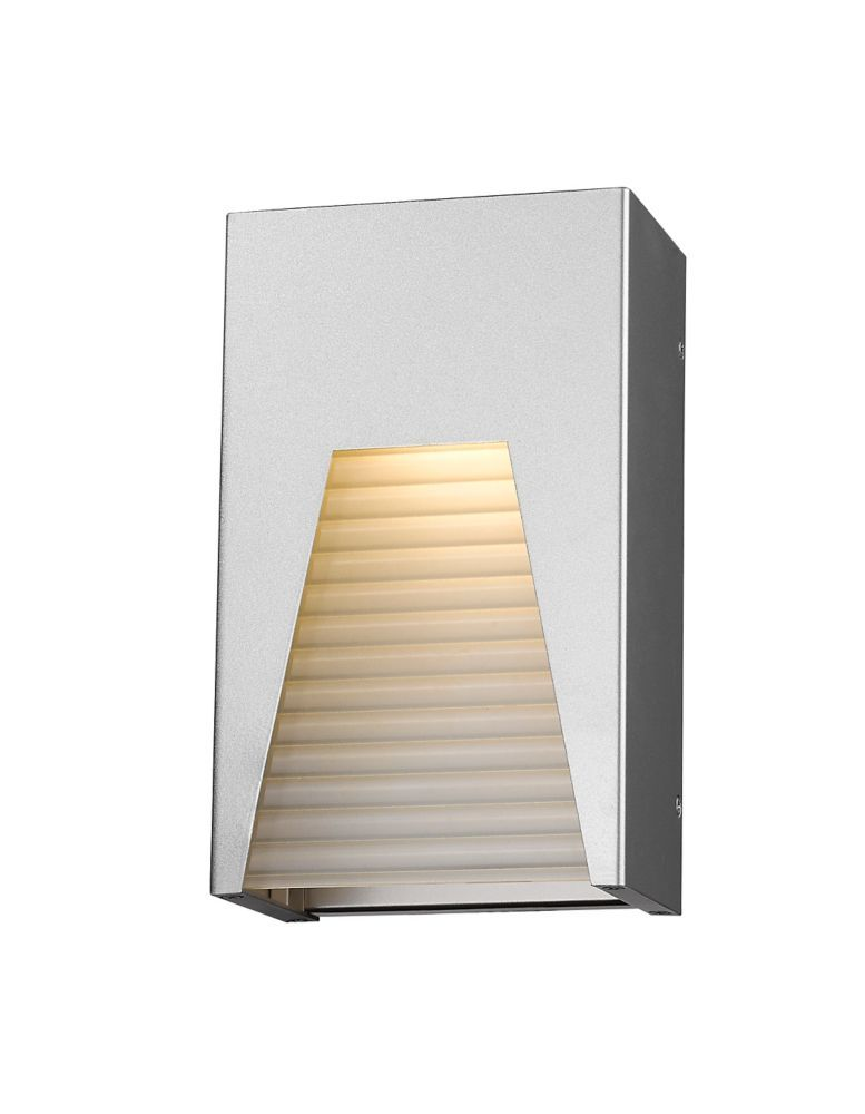 1 Light Silver Outdoor Wall Sconce With Frosted Ribbed Glass 3 63 Inch Outdoor Wall Sconce Outdoor Wall Lighting Z Lite