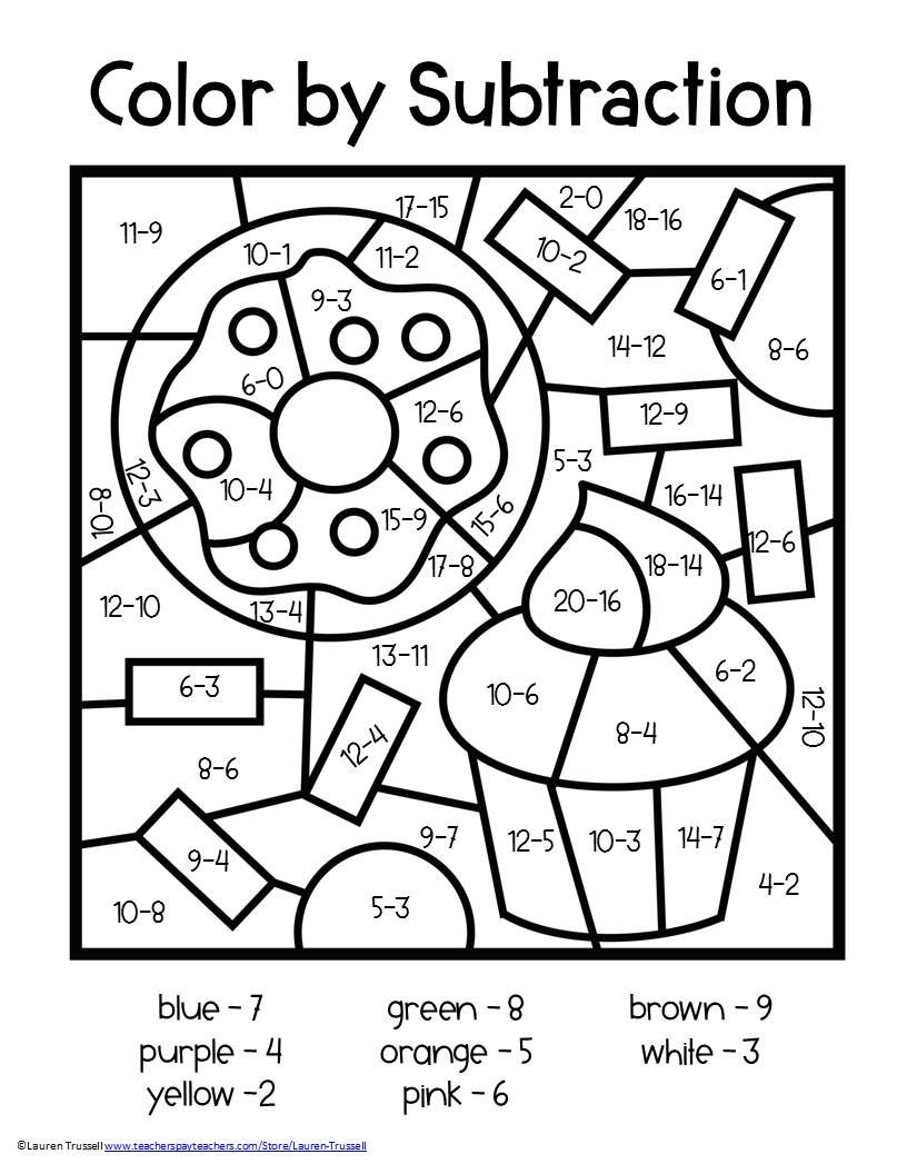 small resolution of Subtraction Color by Number   Math coloring worksheets