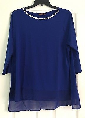 Belldini Women S Plus Size 2x Royal Navy Blouse 3 4 Sleeve Attached