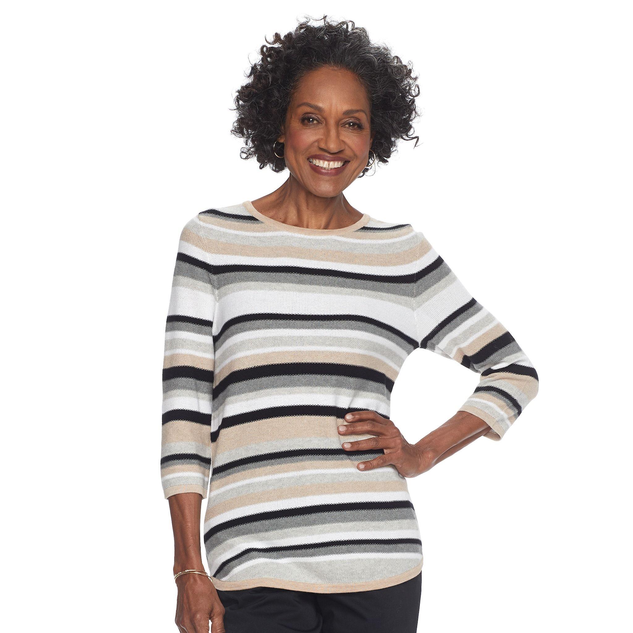Women S Croft Barrow Striped Crewneck Sweater Crew Neck Sweater Women Sweaters [ 2048 x 2048 Pixel ]