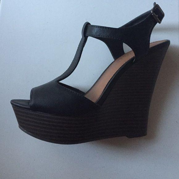 T-strap wedges Black strap, dark brown wedge sandals. Size 7.5, never worn Shoes Wedges