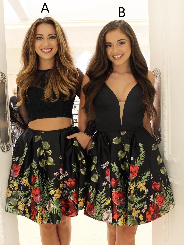Black floral short homecoming dress ball gown pinterest