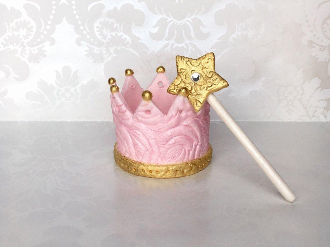 Princess Birthday Crown Cake Topper Edible Fondant Themed Tiara Pink Gold By