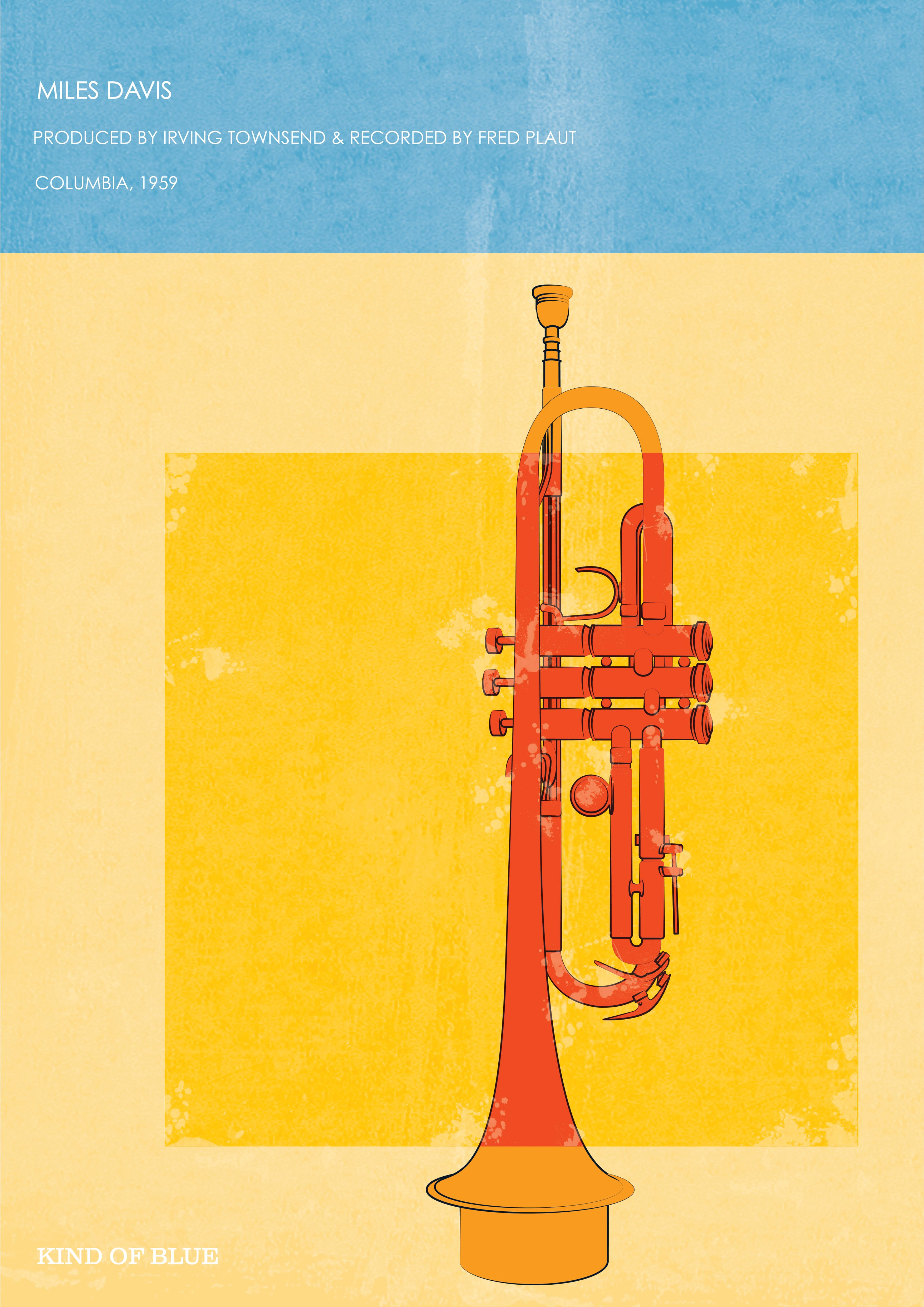 Poster Affiche Miles Davis Kind Of Blue Album Cover Jazz Trompette