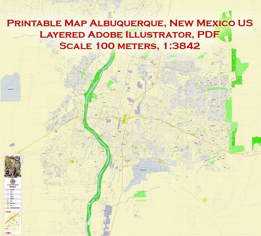 Printable PDF Map Albuquerque, NM exact vector City Plan Map ...