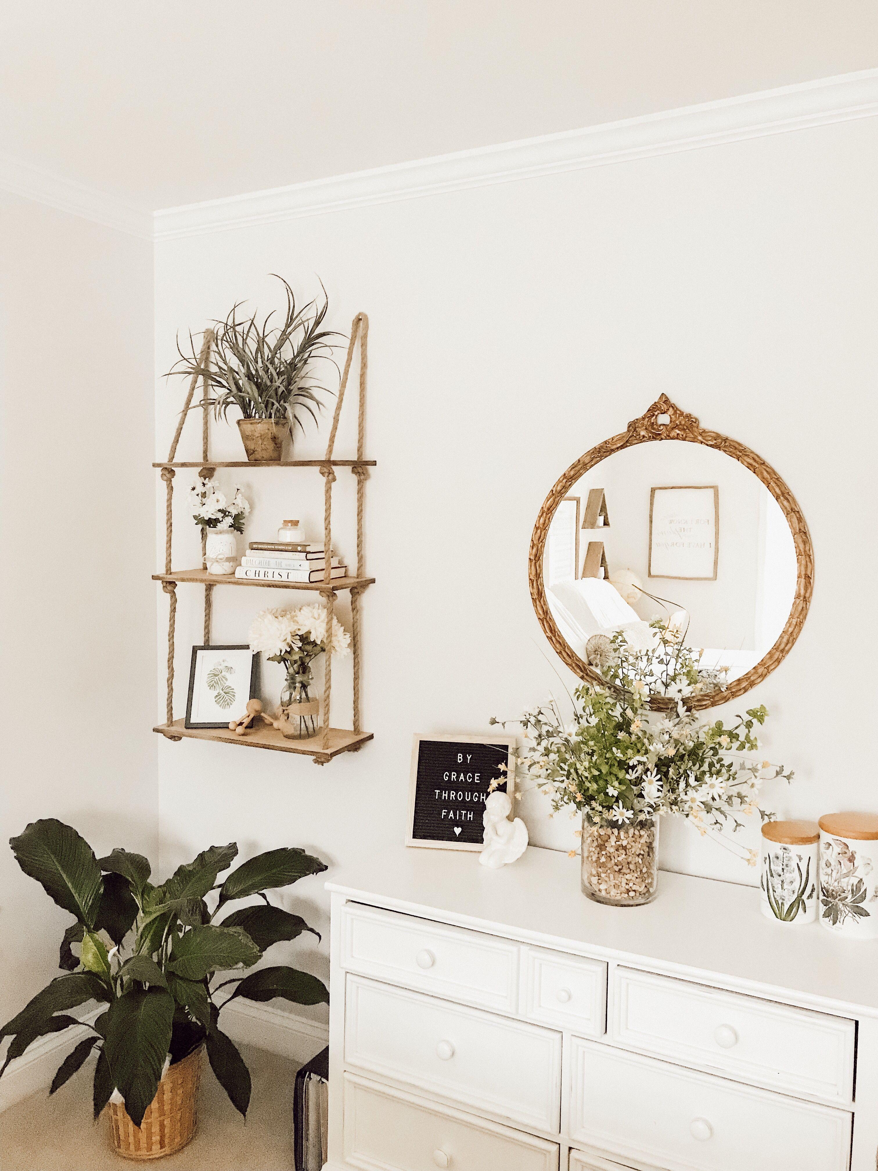 Antique Gold Round Mirror White Minimalist Dresser Boho Rope And