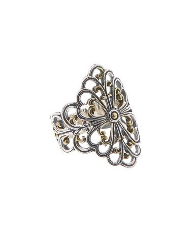 Another great find on #zulily! Sterling Silver & 18k Gold Bali Openwork Ring #zulilyfinds