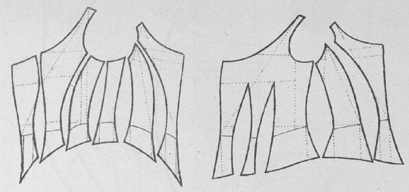 Le Moniteur de la Mode 1884.: Two types of evening bodices.