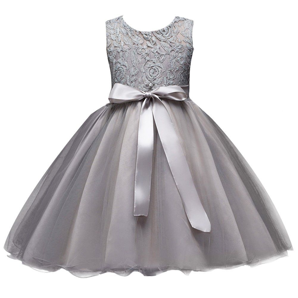 Girls Kids Short Lace Tulle Tutu Dress Princess Party Wedding Bridesmaid  Formal Gown Gray 10- e8241f043
