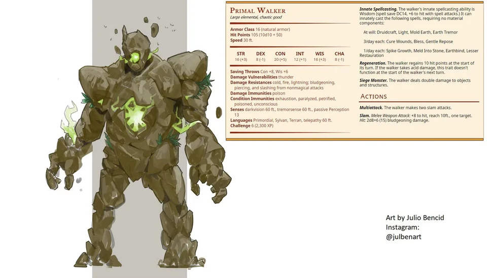 Primal Walker An Elemental Spellcaster To Guard Your Ancient Groves Monsteraday Dnd Monsters Dungeons And Dragons Homebrew Dnd Characters The space you occupy is not affected by earth tremor. pinterest
