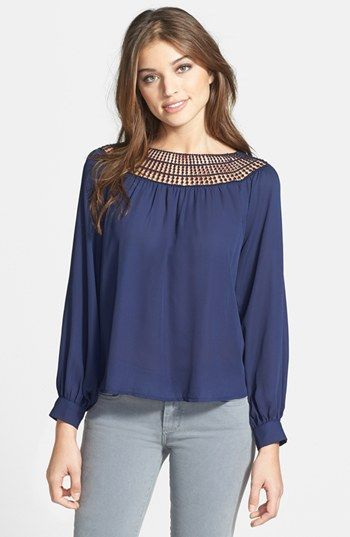 Nikki Rich Crochet Detail Blouse available at #Nordstrom