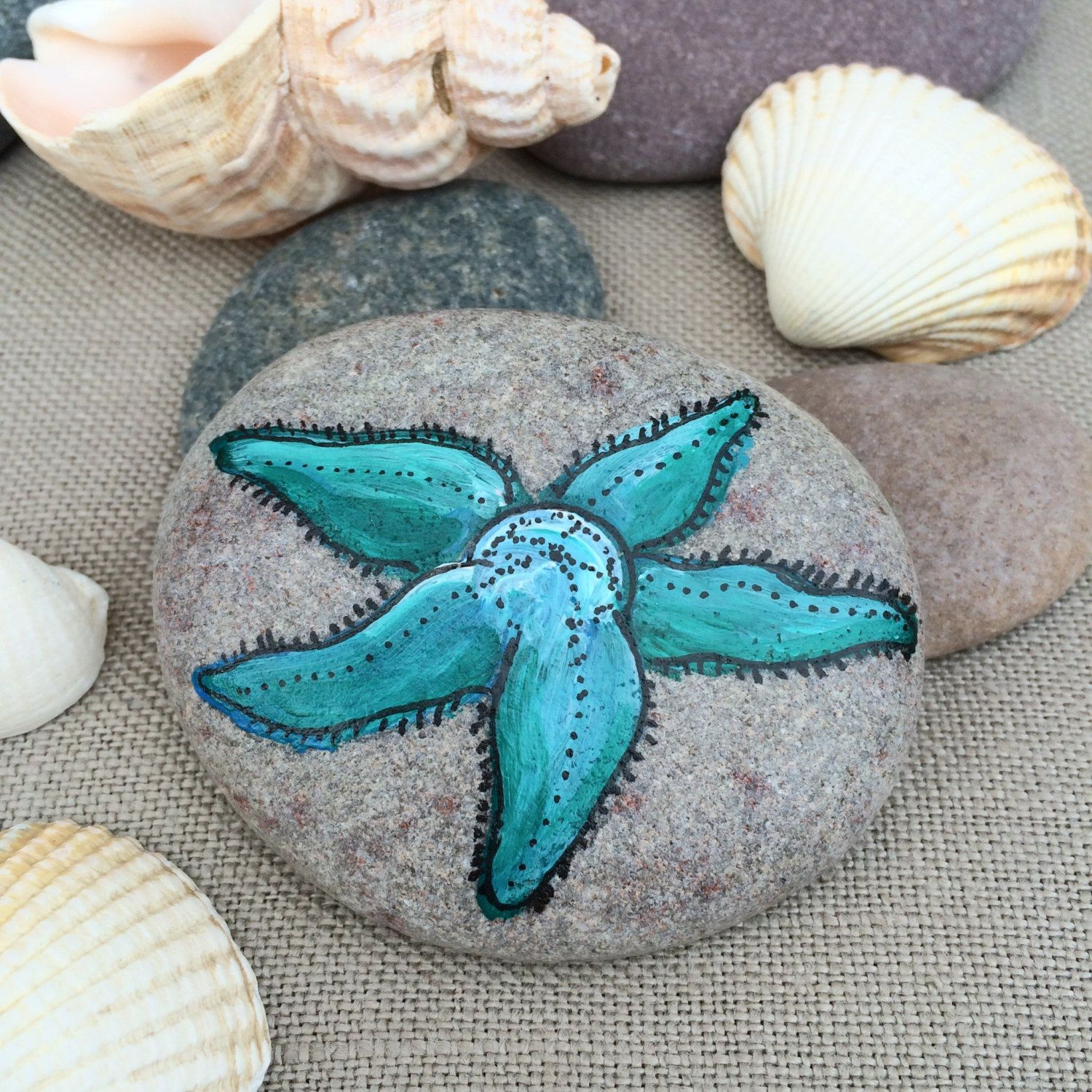 Painted Rock   Pebble Art   Bathroom Decor   Stone Art   Starfish  Paperweight   Desk