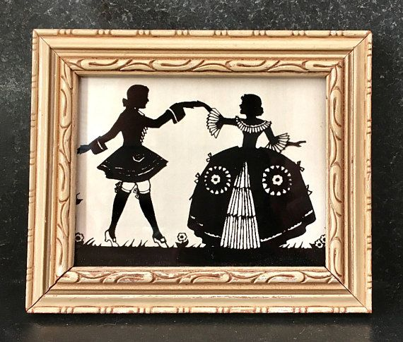 Vintage Silhouette in Carved Wooden Frame Victorian Man and Woman ...