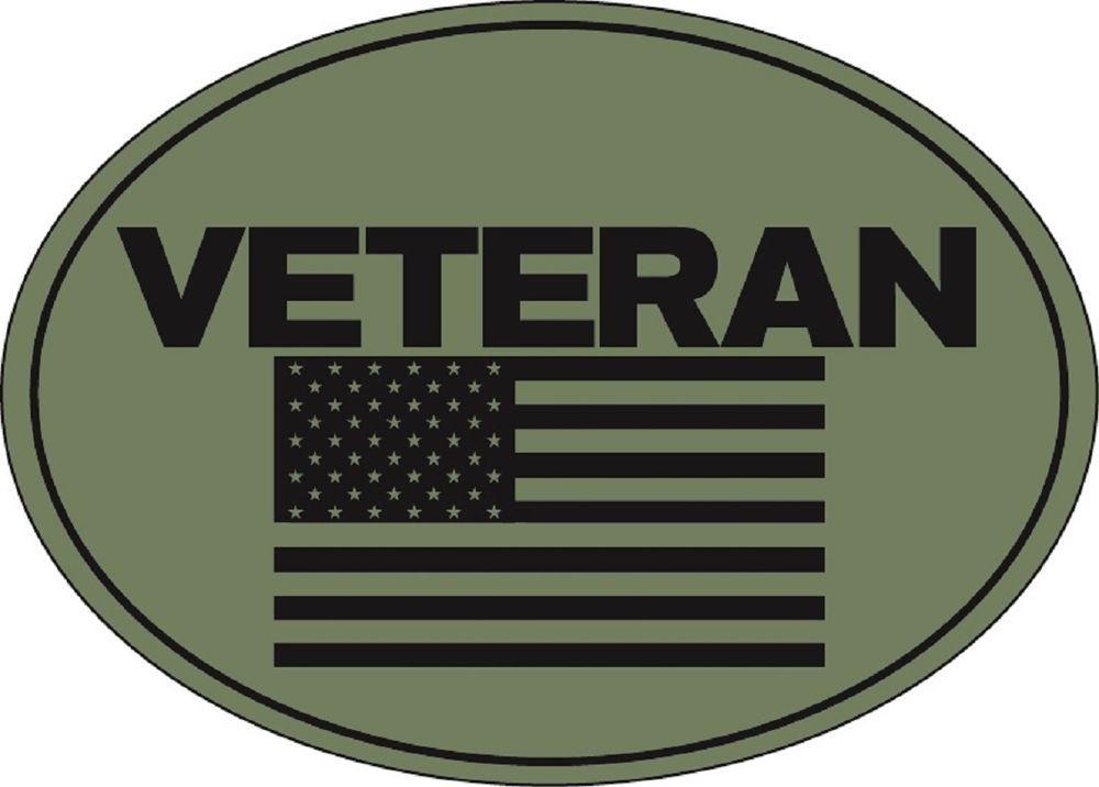 Military War Iraq Afghan Vietnam Veteran Flag USA Made Oval Car Magnet
