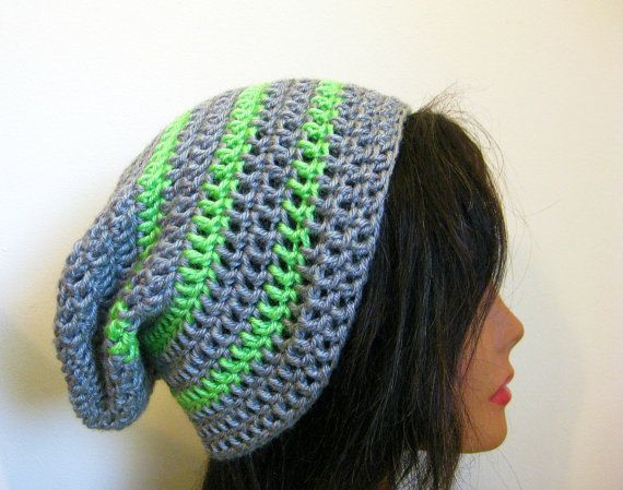 Slouchy Hat Gray with Green Stripes by fablewood on Etsy, $22.00