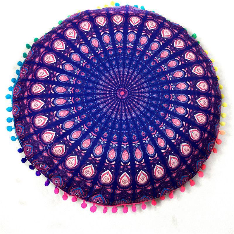 Indian Mandala Round Floor Pillow Case Bohemian Cushion Cover Car ...