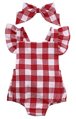 08537e17e baby clothing | Newborn Infant Baby Girls Clothes Plaids Checks Romper  Jumpsuit Bodysuit Outfits (3-6 Months, Red)