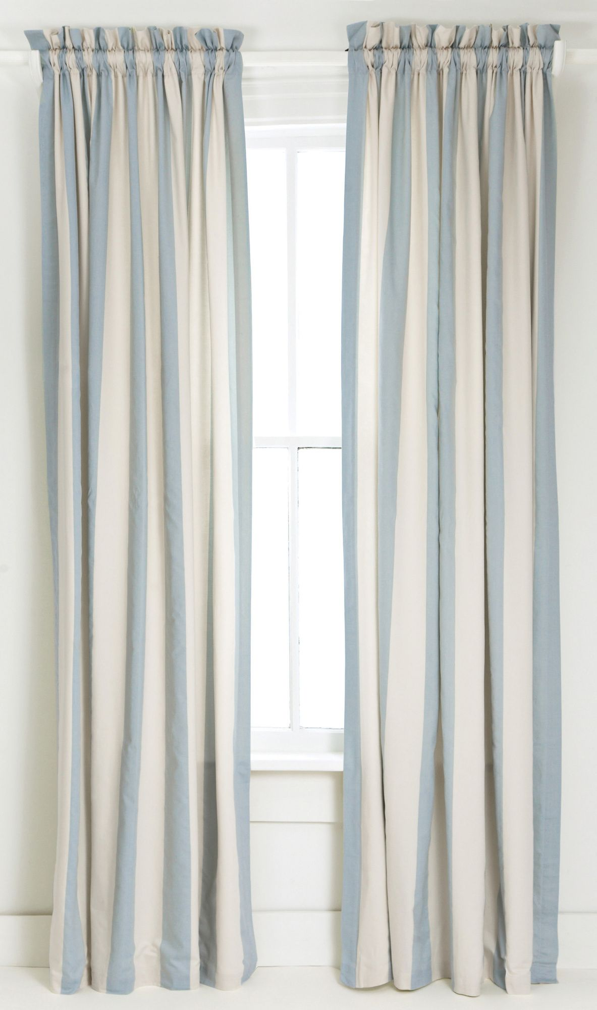 Blue and White Vertical Striped Curtain/Drape ...