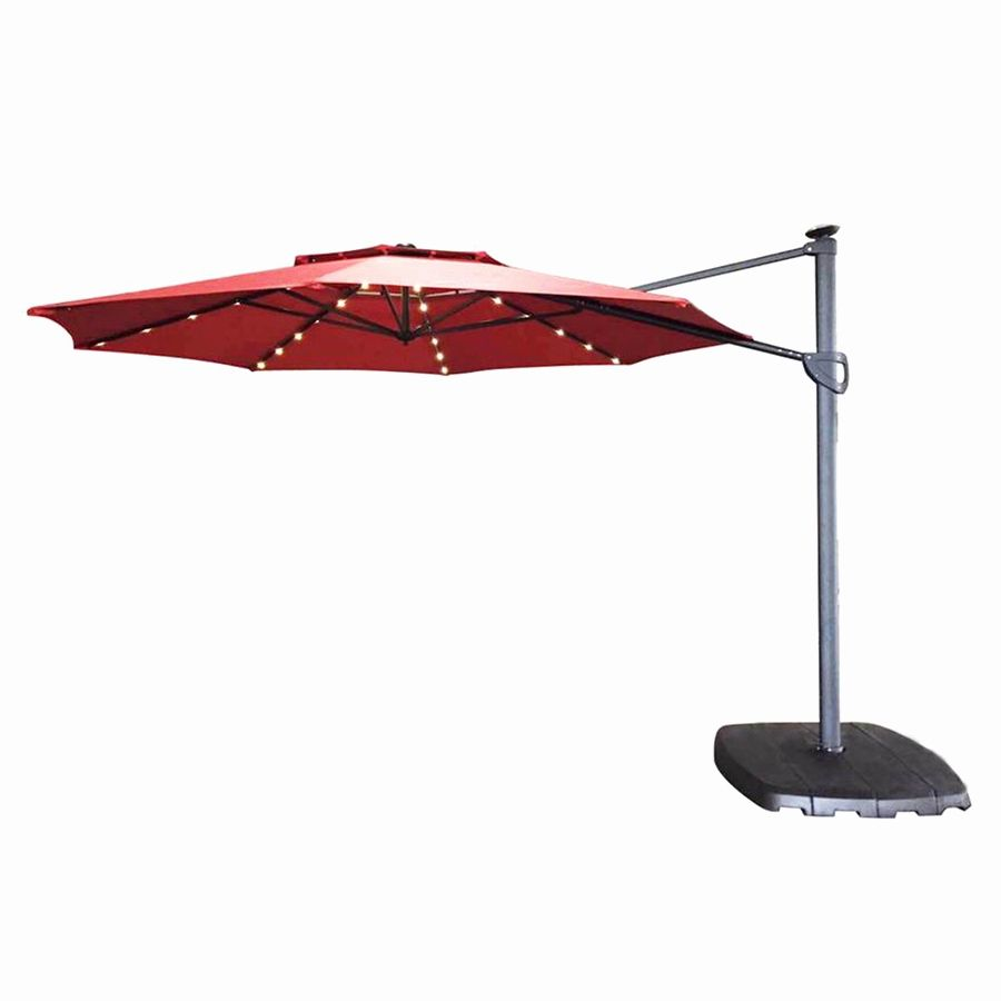 Cantilever Patio Umbrella With Led Lighting From Lowe S In Red Offset Patio Umbrella Patio Umbrella Cantilever Patio Umbrella