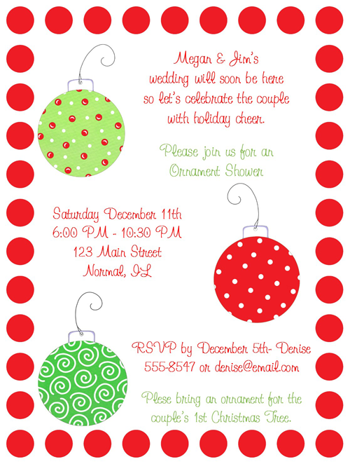 christmas bridal shower wording shop our store christmas ornaments bridal shower invitations