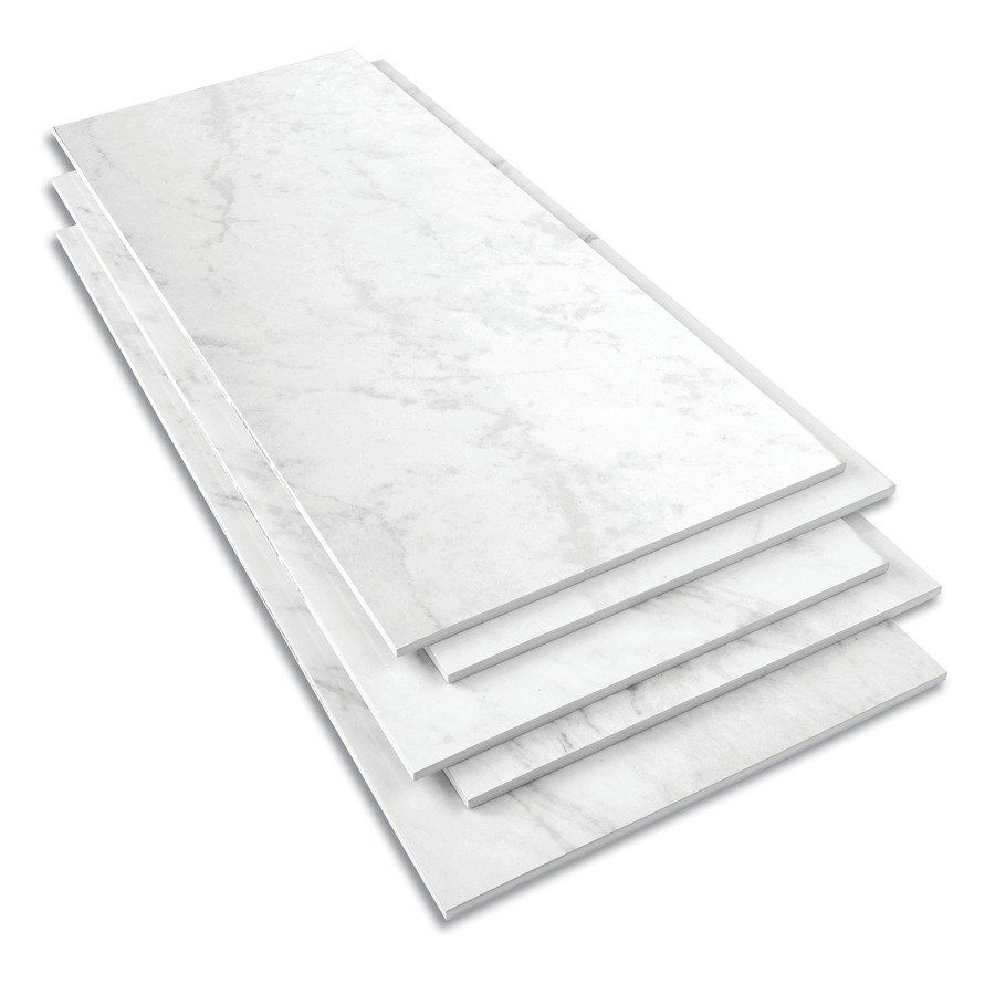 Style Selections 12-in X 24-in Groutable Carrara Marble