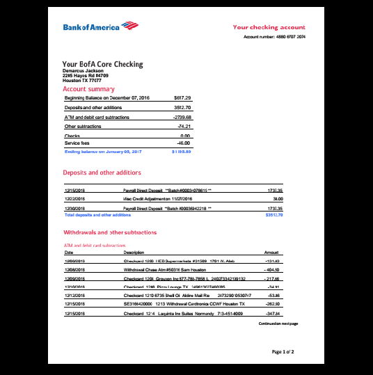 Bank Statements Bank America Template Custom Loan Mortgage