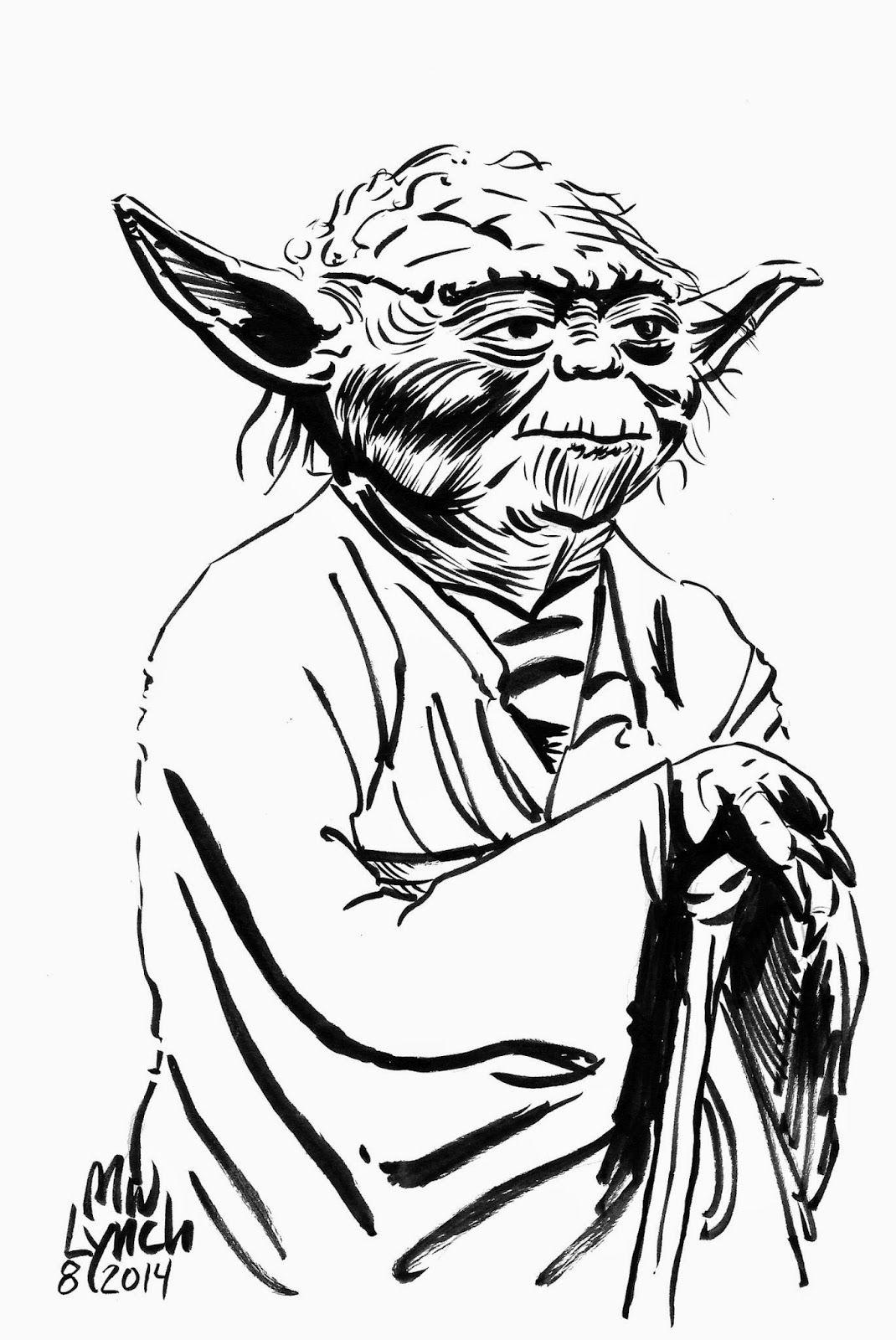 Yoda Star Wars Brush And Ink Illustration