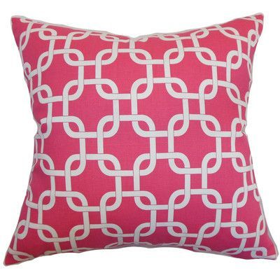 The Pillow Collection Qishn Geom Throw Pillow Cover Color: Candy Pink