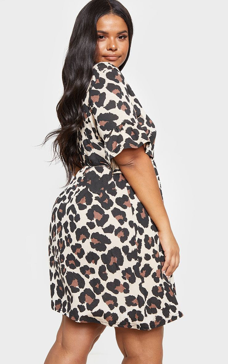 b4d4e7e62dc Plus Brown Leopard Print Frill Detail Smock Dress in 2019 | Products ...