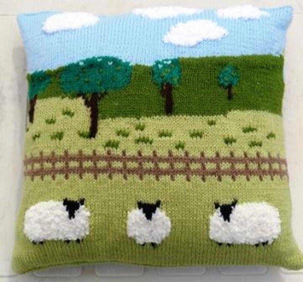 Sheep in the countryside cushion   Countryside, Chunky yarn and ...