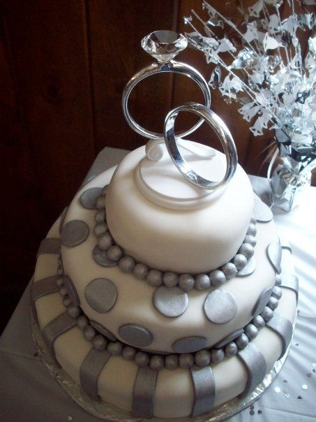 White And Silver Engagement Cake Engagement Party Cake