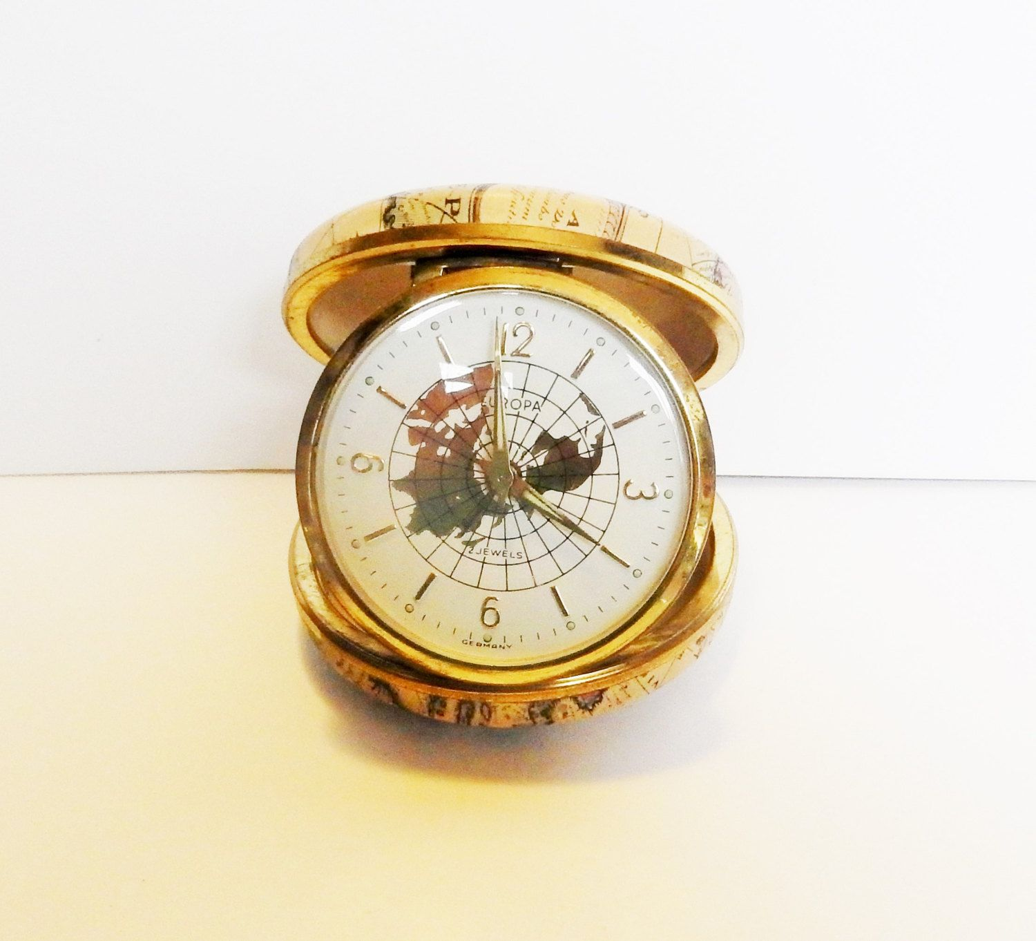Rare #Europa #Germany 2 Jewels Folding Travel Clock With Old