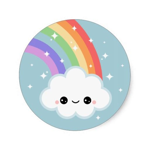 Kawaii rainbow cloud sticker from zazzle clipart best clipart best