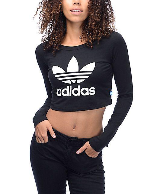 070460fdd6c8b adidas Trefoil Crop Fitted Long Sleeve Black T-Shirt in 2019
