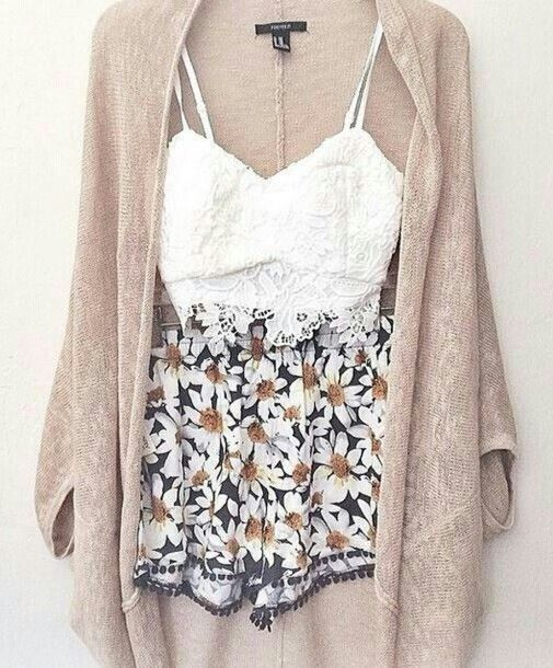 jumpsuit shorts crop tops cardigan cardigans shirt I want this whole outfit!