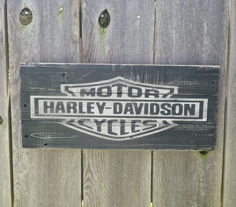 Harley Davidson Sign Wooden Hand Painted One Of A