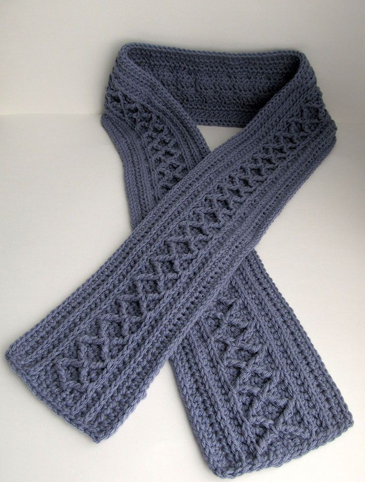 Crochet Scarf Pattern Diamond Cable Scarf Long Scarf To Crochet