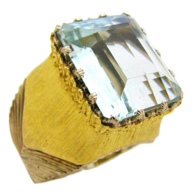Buccellati A Gold And Aquamarine Ring The White And Yellow Gold