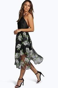 Boohoo Womens Boutique Mia Floral Strappy Midi Skater Dress ... fceaf09dd