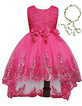 Amazon.com  21KIDS Elegant Sleeveless Sequins Hem Tulle Long Tail Wedding  Party Princess Gown Pageant Dress(Rose red 62ee3480ccce