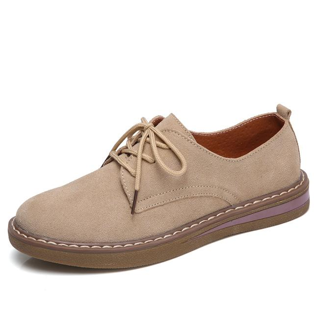 Oxford Flats Shoes Leather Suede Lace